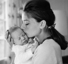 Audrey Hepburn and her newborn son Sean 1960