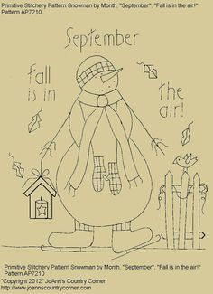 "Primitive Stitchery E-Pattern Snowman by Month ""September"", ""Fall is in the air!"""