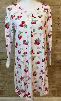 Nick & Nora Sleepwear Pajama Shirt PJ's Berries & Ladybugs Size Medium #NickNora #Sleepshirt #Sleep Pjs, Pajamas, Nick And Nora, Pajama Shirt, Ladybugs, Floral Tops, Berries, Online Price, Sleep