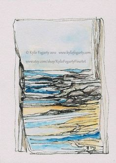 Abstract ACEO  Blue and Yellow Beach by KylieFogartyFineArt, $15.00