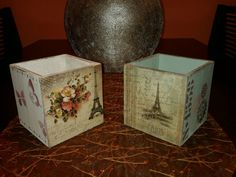Posalápices en madera con papel arroz, modelo 01