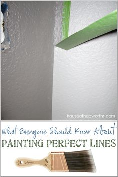 everyone should know about Painting Perfect Lines How to paint perfect lines every time. Use this handy trick and never have bleeding again. How to paint perfect lines every time. Use this handy trick and never have bleeding again. Painting Tips, House Painting, Painting Walls, How To Paint Walls, Home Improvement Projects, Home Projects, Home Renovation, Home Remodeling, Paint Line