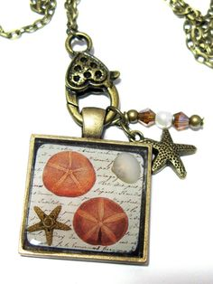 Real Starfish Resin Pendant Necklace - Image Encased in Resin with Charm and Crystals
