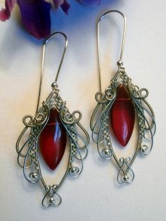 Wire Wrapped Earrings Marvelous Red Marquise by PerfectlyTwisted, $30.00