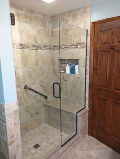 Tile Shower With Bench Seat In Cambria Quartz, Tiled Wall Niche, Moen Grab  Bar