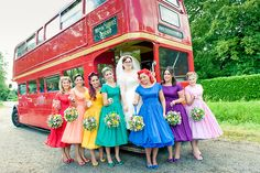 """I love this bright bridal party! The 50's style dresses look great on all the different girls, and the bright colours add some fun and flare! Looking good ladies! :D"" --modern-wedding-thoughts on tumblr"