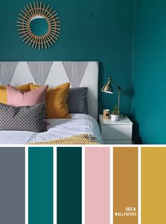 25 Best Color Schemes for Your Bedroom teal, gold , mustard and grey , teal mustard gold color palette, colourpalette - My Website 2020 Bedroom Colour Schemes Blue, Teal Color Schemes, Bedroom Colour Palette, Bathroom Color Schemes, Living Room Color Schemes, Interior Colour Schemes, Teal Living Rooms, Teal Color Palettes, Teal Rooms