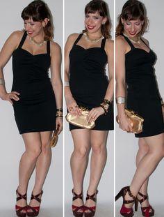 Vestido preto, acessórios dourados