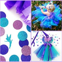 Fairy Tutu Dress in shades of Blues and Greens. Perfect for your Fairy Birthday.