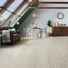 Create a calm haven with light and dark tones, starting with this neutral yet contemporary limed oak flooring - Opus Fabrica Vinyl Plank Flooring, Oak Flooring, Floors, Floor Colors, Open Plan Living, Simply Beautiful, Light In The Dark, Patio, Contemporary