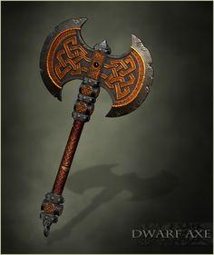 Dwarf Axe | Eat 3D Fantasy Weapons, Fantasy Rpg, Medieval Fantasy, Guerra Anime, Beil, Viking Axe, Cosplay Weapons, Battle Axe, Medieval Weapons