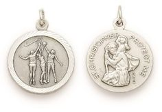 St. Christopher Sterling Silver Sports Medal (Round) - Girls Basketball