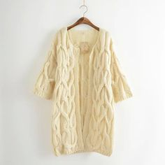 Premium Luxury NEW Loose Solid Twist Knit Cable Women's Casual Cardigan Sweater Coat 3 Colors One Size