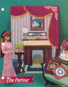 THE PARLOUR FURNITURE PLASTIC CANVAS PATTERN BY ANNIES FOR FASHION DOLL  picclick.com