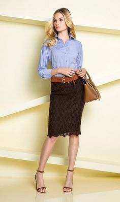 brown lace skirt... love for spring  (even with a white tank and flip flops) ... then take it into fall with cute boots!