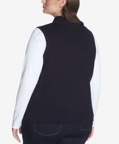 Tommy Hilfiger Plus Size Quilted Rib-Knit Vest, Created for Macy's - Blue 1X