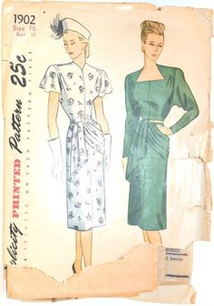 Simplicity 1902 Dress with swag 1946 Sz16/34/28/37 The bodice has tucks at the shoulder & darts at the back waistline.A pleated drape joins the left side seam at the waistline.Two neckline options are offered. c/c env wear AU10.5+9 US9.56 3bds 6/21/14