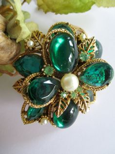 Vintage art company rhinestone and glass green by ThisandThat4U