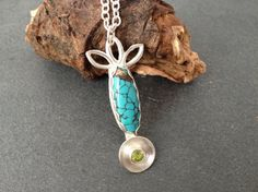 Sterling silver pendant with turquoise and by silvermeadows, £70.00