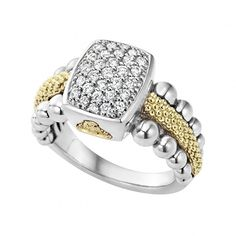 A diamond ring with 18k gold and sterling silver Caviar beading highlighted by an 18k gold LAGOS crest. LAGOS diamonds are the highest quality natural stones.