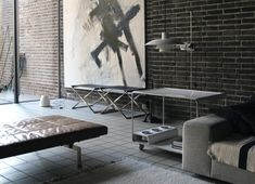 PK80 daybed and PK91 stool by Poul Kjærholm from Fritz Hansen and PH 4/3 lamp by Poul Henningsen from Louis Poulsen