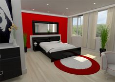 Red And Black Bedroom I Like This Balance Of Colors Gray
