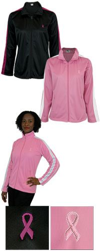 Sprint Pink Ribbon Track Jacket~ Gear up with the athletic wear that pairs your active lifestyle with a commitment to the cause. Whether training for a marathon or running to catch a train, this sleek tailored track jacket has you covered! Every Purchase Funds Mammograms for Women in Need.