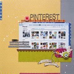 journaling page alternative. :D Wait, so you pinned things, made a scrapbook layout about pinning them, and then it got pinned? Scrapbook Page Layouts, Scrapbook Cards, Drawing Journal, Scrapbook Supplies, Scrapbooking Ideas, Layout Inspiration, Smash Book, Paper Crafts, Crafty