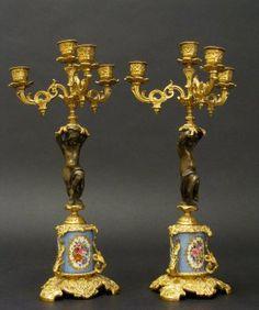 French Dore Bronze & Sevres Porcelain Candelabra