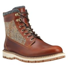 Timberland - Boots Britton Hill 6-inch with Warm Lined Homme - Marron - Tige et doublure en laine écossaise Harris Tweed
