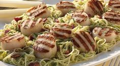 Grilled Scallops with Pea Pesto over Angel Hair Pasta by Jamie Purviance