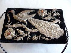 Art Deco antike Damen Handtasche Theatertasche bestickt mit Brokat und 2 Achaten