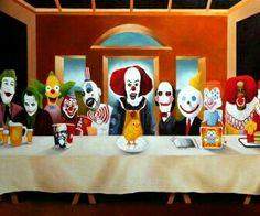 creepy the joker ronald mcdonald last supper krusty clown colonel jigsaw pennywise HD Wallpaper Joker Clown, Creepy Clown, Zombies, Krusty The Clown, Nostalgia Art, Last Supper, The Simpsons, Santa Maria, Caricature