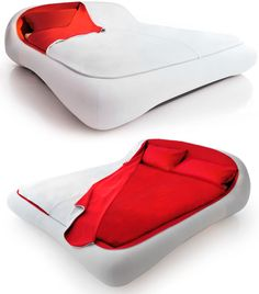 From Italian-based furniture maker Florida comes this utterly brilliant Letto Zip bed which features a top cocoon-like cover that can be removed at night for sleeping, but easily zipped back on in the morning to hide the disheveled, unmade mess of sheets. Available in white, blue or gray, the bed's rounded, padded frame definitely gives it a slick not-too-distant-future appearance, particularly when it's all zipped up.