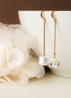 Swarovski Cube Crystal Earrings Gold Crystal Earrings Dangle Drop Crystal Earring cubic zirconia earrings gift Jewelry ideas by DreamIslandJewellery on Etsy