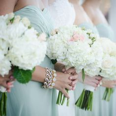 Hydrangea and rose bridesmaid bouquets