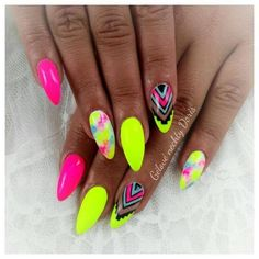 Want some ideas for wedding nail polish designs? This article is a collection of our favorite nail polish designs for your special day. Bright Nails, Funky Nails, Love Nails, Pretty Nails, My Nails, Neon Nail Art, Neon Nail Polish, Neon Nails, Nail Polishes