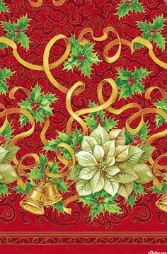 A Christmas Story - Poinsettia Bells Double Border - Dk Red/Gold
