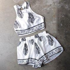 reverse - white + black boho print halter two piece set - shophearts - 1