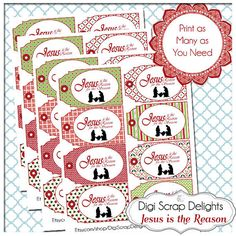 50% Off Sale Jesus is the Reason Printable by DigiScrapDelights #christmas #labels #tags  #gifttags #jesusisthereason #printable  #winter #sale