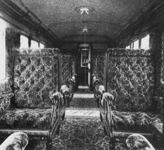 An interior of a first-class London and South Western Railway carriage, Southampton steamer-express, 1898