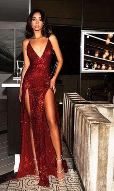 Sparkly Prom Dresses Burgundy V-neck Long Prom Dress with Slit Sexy Evening Dress Sparkly Prom Dresses, Backless Prom Dresses, Pretty Dresses, Sexy Dresses, Beautiful Dresses, Long Dresses, Red Sparkly Dress, Wedding Dresses, Prom Gowns