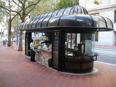 Historic (1978) bus stop preserved in Downtown Portland as a coffee shop