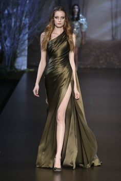 Khaki silk double satin asymmetric draped gown. Ralph and Russo