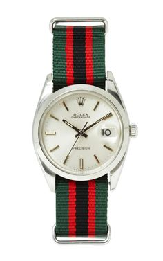 Vintage Rolex Oyster-Date In Striped Nato by VINTAGE ROLEX WATCHES for Preorder on Moda Operandi
