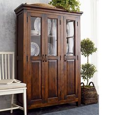 This is a matching piece to the bench in our living room and would be a perfect replacement for our dining room hutch.