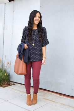 Blue Floral Blouse and Maroon Jeans Out and About Outfit