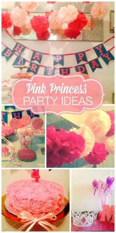 Paper pom-poms and a ruffle cake are found at this pink princess girl birthday party!  See more party ideas at CatchMyParty.com!