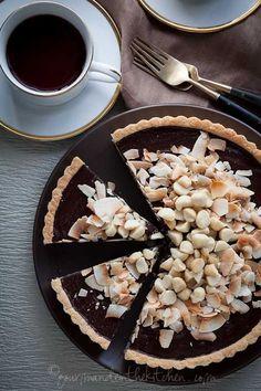 Chocolate, Coconut, Macadamia Nut Tart (Gluten Free, Paleo, Vegan) - Almond