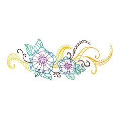 Two vibrant teal and purple flowers with gold leaves. The perfect size to beautifully adorn a lower belly.3 x 6 inchesTo apply any of our temporary tattoos, simply remove clear plastic topsheet, press to skin, and wet the back of the tattoo with a wet washcloth for 30-60 seconds.<p>Lasts 4-7 days. Remove with rubbing alcohol or baby oil.<p>Made with colors approved by the U.S. Food and Drug Administration (FDA) as cosmetics.<p>Founded by a mom w...